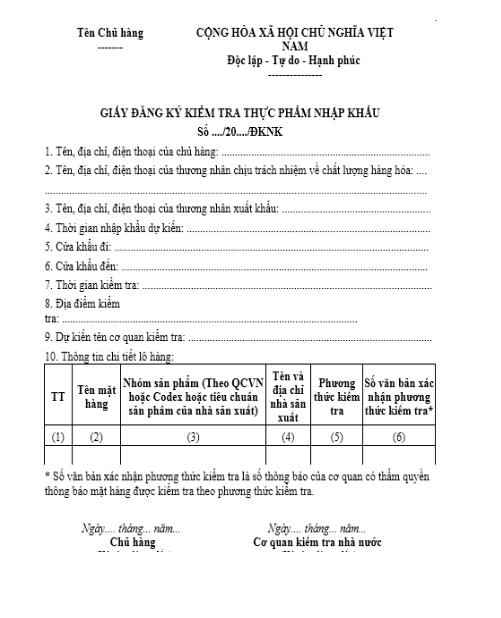 giấy đăng ký kiểm tra chất lượng nhập khẩu