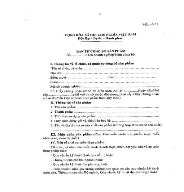 giấy tự công bố chất lượng sản phẩm